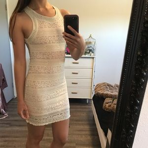 High neck white lace sheer back dress